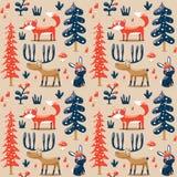 无缝的冬天圣诞节样式狐狸,兔子,蘑菇,麋,灌木,植物,雪,树 免版税库存图片