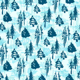 无缝的冬天树样式 免版税库存照片