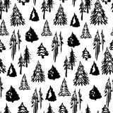 无缝的冬天树样式 图库摄影