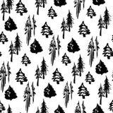 无缝的冬天树样式 库存例证