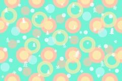 无缝的冬天样式背景 五颜六色的球,圆环,克里斯 库存例证