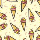 无缝的冰淇凌样式,五颜六色乐趣的anf 免版税库存照片