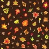无缝的减速火箭的五十年代秋叶样式 库存照片