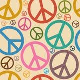 无缝的减速火箭的和平标志背景 免版税库存照片