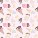 无缝的减速火箭的多色冰淇凌样式 免版税库存图片