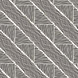 无缝的几何乱画排行在黑白的样式 Adstract手拉的减速火箭的纹理 库存图片