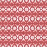 无缝的几何传染媒介花卉样式在红色背景中 免版税库存图片