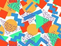 无缝的几何孟菲斯样式 库存图片