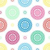 无缝的几何花卉与看起来五颜六色的形状的东方阿拉伯花的样式传染媒介背景设计抽象派 免版税库存图片