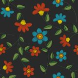 无缝的刺绣花卉样式 皇族释放例证