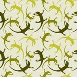 无缝的动物传染媒介样式,与五颜六色的爬行动物,在浅绿色的背景的剪影的混乱背景 免版税库存图片