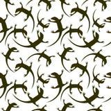 无缝的动物传染媒介样式,与黑暗的爬行动物,在白色背景的剪影的混乱背景 免版税库存照片