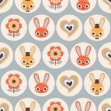无缝的动画片兔子样式 免版税库存图片