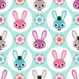 无缝的动画片兔子样式 免版税库存照片
