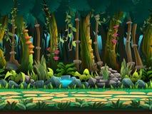 无缝的动画片密林风景,导航与被分离的层数的无止境的背景 库存例证