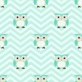 无缝的动画片猫头鹰背景样式 免版税库存图片