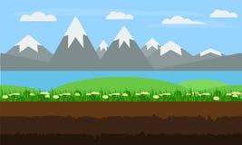 无缝的动画片自然风景,平的比赛背景传染媒介 向量例证