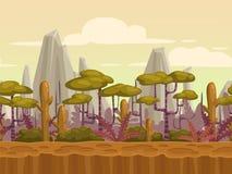 无缝的动画片自然风景 库存例证