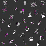 无缝的化学科学平的样式 免版税库存图片