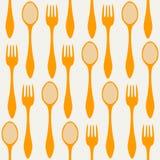 无缝的匙子和叉子 免版税图库摄影