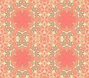 无缝的华丽六角形样式淡色红色橙色米黄绿色 向量例证