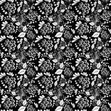 无缝的单色花卉样式 库存例证