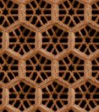 无缝的印地安样式-在黑backgro的棕色砂岩格栅 库存图片