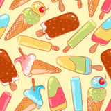 无缝的可口颜色冰淇凌 免版税库存图片