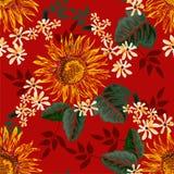 无缝的图表太阳花和与绿色叶子的小的花在红色背景,传染媒介例证 图库摄影