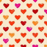 无缝的图画心脏样式 免版税库存图片