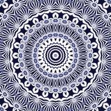 无缝的圈子样式白色深蓝 免版税库存图片