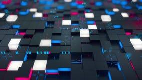 无缝的圈:3d数字技术概念 与红色和蓝色段的黑立方体象征数据块 向量例证