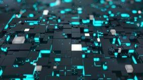 无缝的圈:3d数字技术概念 与绿松石段的黑立方体象征数据块 皇族释放例证