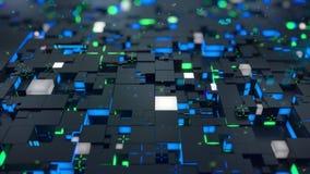 无缝的圈:3d数字技术概念 与绿色和蓝色段的黑立方体象征数据块 库存例证
