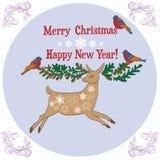 无缝的圣诞快乐驯鹿 免版税库存照片