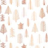无缝的圣诞树上铜箔传染媒介样式背景 金属发光的在白色背景的玫瑰金黄乱画树 典雅 库存例证