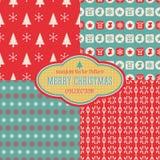 无缝的圣诞节传染媒介样式收藏 免版税库存图片