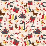 无缝的圣诞节传统样式 新年度节假日 库存图片