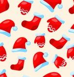 无缝的圣诞节样式零件圣诞老人服装 向量例证