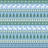 无缝的圣诞节样式,卡片-斯堪的纳维亚毛线衣样式 库存图片