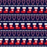 无缝的圣诞节样式- Xmas树、星和xmas袜子 库存照片