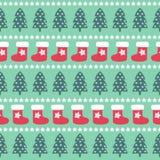 无缝的圣诞节样式- Xmas树、星和xmas长袜 库存照片