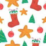 无缝的圣诞节水彩样式 免版税库存照片