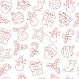 无缝的圣诞节稀薄的线象背景 免版税图库摄影