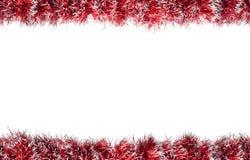无缝的圣诞节红色银色闪亮金属片框架 背景查出的白色 库存照片