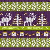 无缝的圣诞节编织的样式 库存照片