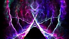 无缝的在人脑的圈摘要动画电子神经的神经系统与错觉性五颜六色轻发火花代表 向量例证
