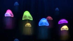 无缝的在深海水下的背景样式的动画五颜六色的水母在幻想海军陆战队员概念 皇族释放例证