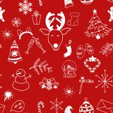无缝的在红色背景的圣诞节样式白色对象 向量例证