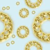 无缝的在蓝色的样式金黄装饰品 库存例证